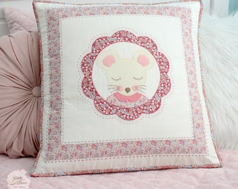 MILLY MOUSE Cushion Pattern - PDF download. Sew a hand quilted cushion cover with a felt mouse appliqué.