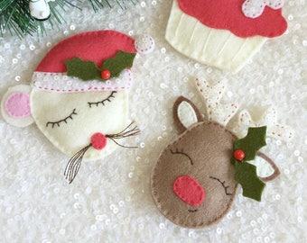 FESTIVE FELTIES PDF Pattern - felt Christmas decorations, ornaments, gift tag pattern, Mouse, Reindeer, Christmas Cupcake