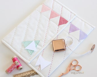 On Point Pouch Pattern - PDF download for clutch bag / pouch featuring English paper pieced ombre triangle panel