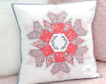 STELLA CUSHION Pattern - PDF download for English paper pieced, hand quilted, cushion cover or pillow sham with three embroidery options