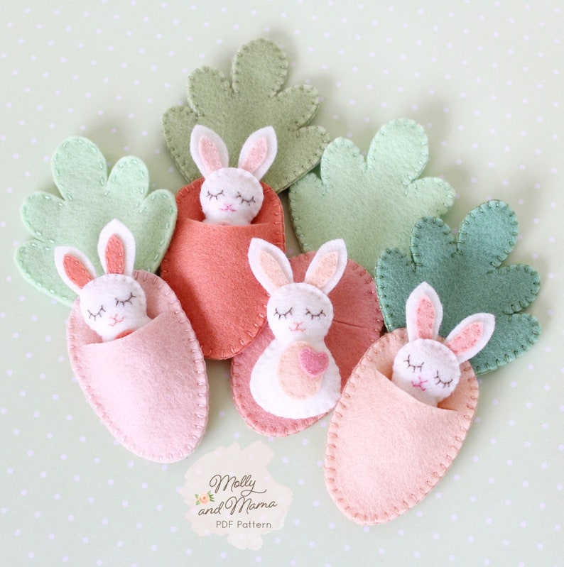 FELT BUNNY PDF Pattern  'Bitty Bunnies' Easter image 0