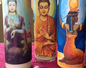Sacred Space Candles {Quan Yin, Buddha, Isis}
