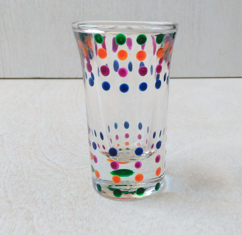 Fiesta Dots Shot Glass SouthwesternTex-Mex Handpainted image 0