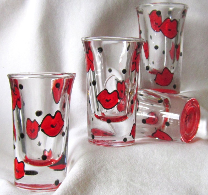 Lips Shot Glass Handpainted Kisses Smoochies image 0