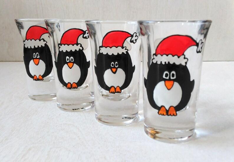 Penguins Holiday Santa Hand Painted Shot Glasses image 0