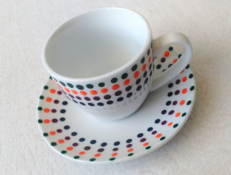Fiesta Dots Espresso Cup and Saucer Handpainted Porcelain Set image 0