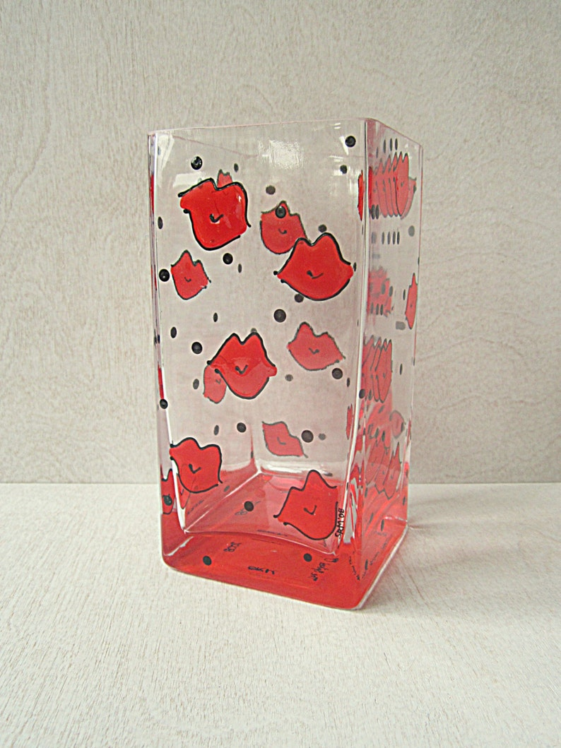 Lips Kisses Vase Hand Painted Square Glass Smoochies Swak image 0