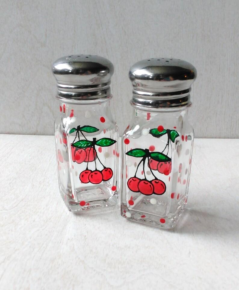 Cherries and Dots Vintage Salt & Pepper Handpainted Shakers image 0