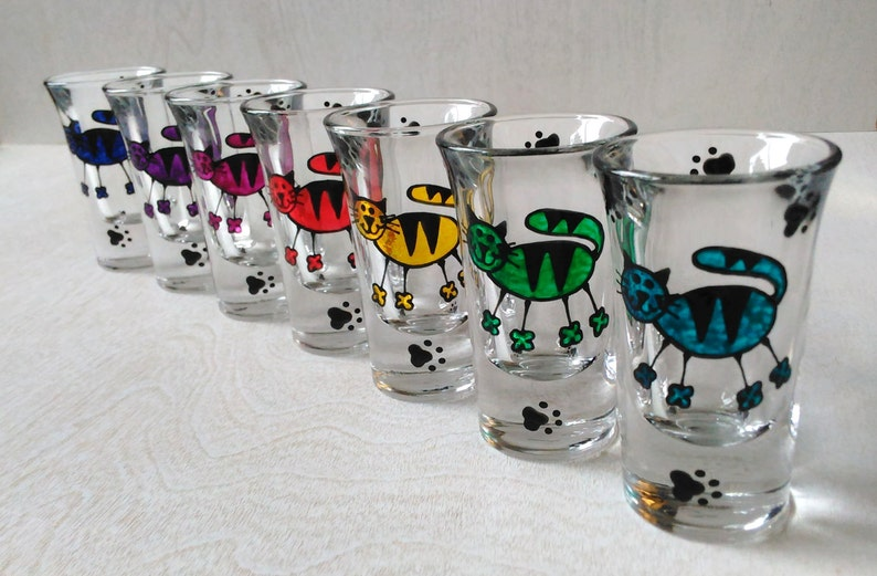 Cats & Paws Shot Glasses Handpainted image 0