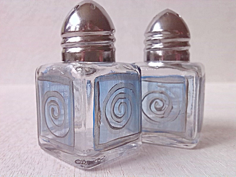 Salt & Pepper Blue Square Silver Classy Hand Painted Mini image 0