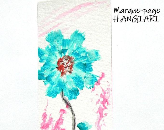 Hand painted flower motif bookmark, Hand painted floral motif bookmark, small painting bookmark