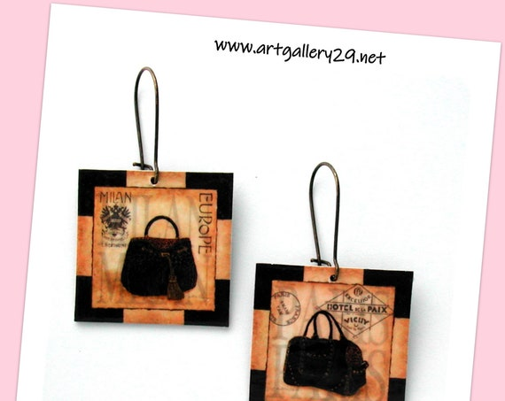 Printed earrings for women, SAC A MAIN haute couture square pattern handbag print, original Paris earrings