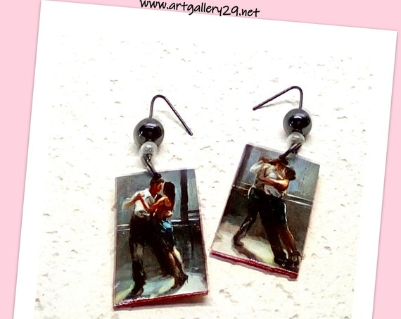 Original artistic tango dancers earrings, art painting dancers / tango dancers earrings