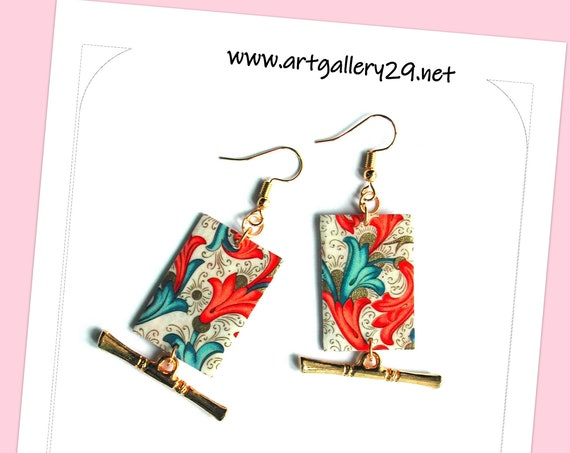 ART DECO: COLORED baroque style women's earrings, art deco, art deco pattern, paper, multicolored flowers, multicolored rectangle
