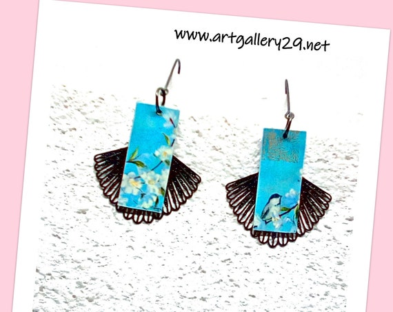 JAPANESE - Japanese style Japanese paper earrings with blue Japanese paper flowers and birds, black filigree fan pendant