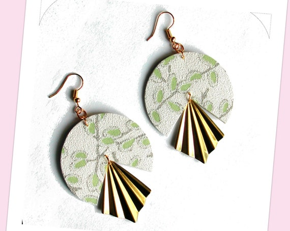 Large round faux earrings collection, pale green paper white background plaster effect, golden brass fan, bohemian, springtime