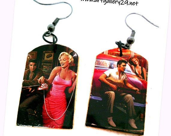 ELVIS-MARILYN Elvis Presley/ Marilyn Monroe earrings, rock'n'roll mismatched artistic earrings, rock'n'roll gift