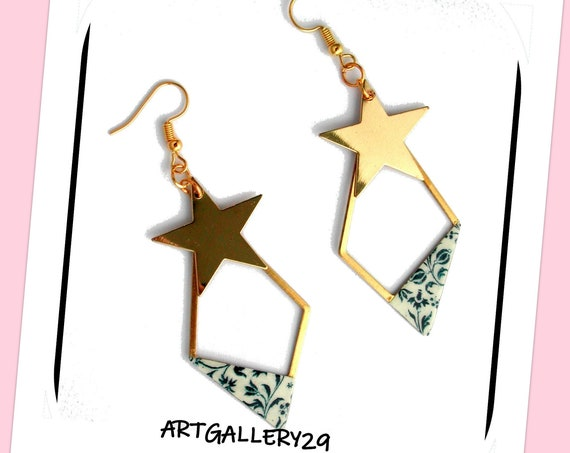 Creole collection: Brass diamond hoop earrings, brass star, white paper blue flowers