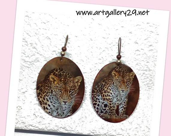 LEOPARD MOTIF-Large oval earrings with panther or leopard motif-oval-shaped medallion earrings on bronze sleeper
