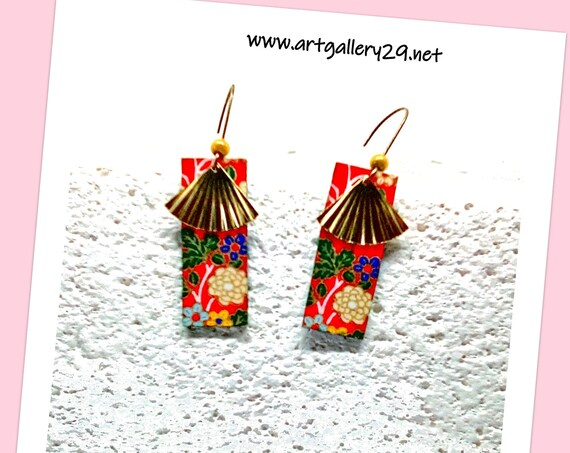ASIAN - Red Rectangle Asian Flower Gold Color Brass Fan Pendant Earrings Gift for Teenage Girl or Wife