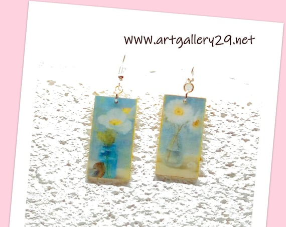 ART - SILVER 925 earrings, handmade still life painting, FLOWER in a vase, blue / yellow crackle effect earrings