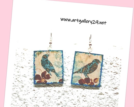 JAPANESE - Earrings, Japanese paper, blue bird, Japanese earrings with bird motif, Japanese paper with bird print