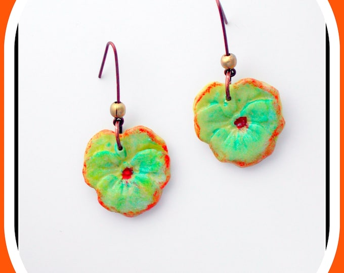 ETSY // Earring flower / thought / porcelain cold * Natural jewel * Jewelery flowers * Copper metal / nature earrings / accessory