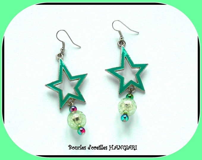 ETOILE COLLECTION: Turquoise enamelled star earrings, pale green pearl acrylic pearl