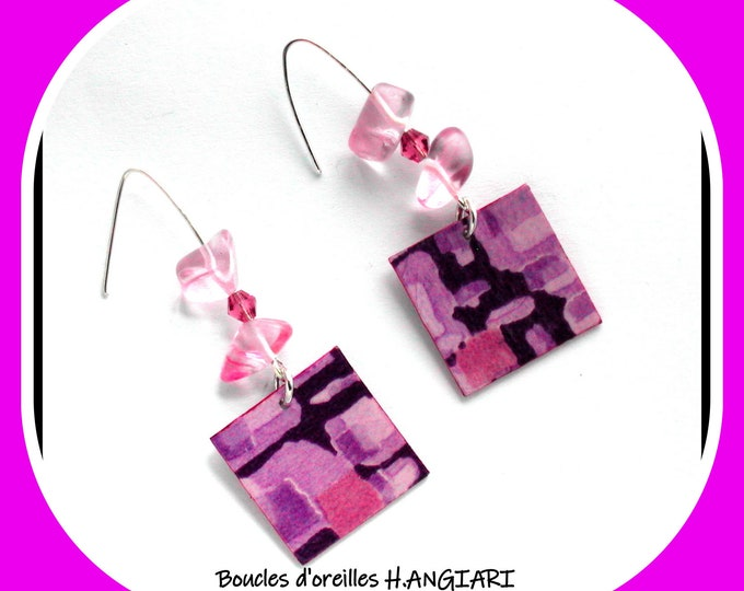 Pink and mauve square earrings ~ Pink and mauve square earrings ~ Square mauve / pink earrings ~ dangling mauve