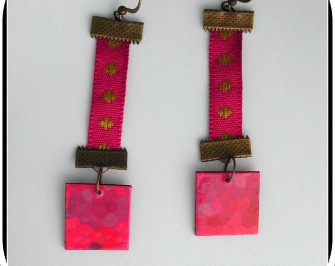 Indian collection: INDIAN earrings, fuchsia pink, fabric, bronze, paper, INDIAN earrings, Indian jewelry