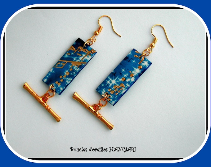 ETSY festive // gold polka dots earrings electric blue background, golden tassels, starry night rectangle, earrings for the holidays