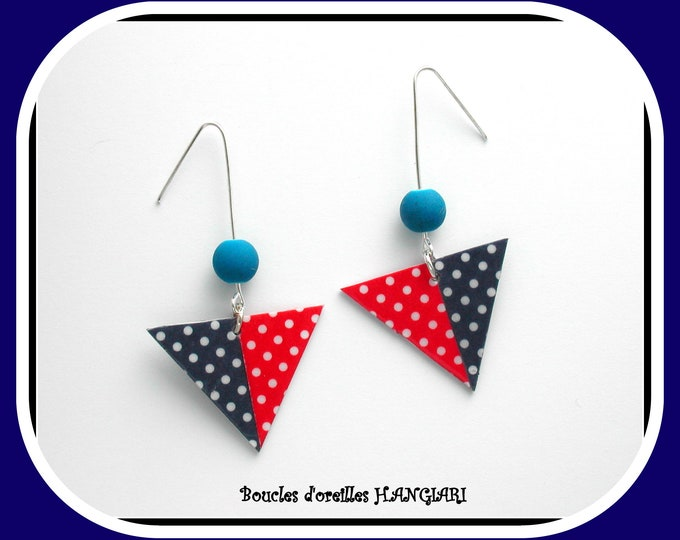 Asymmetrical Collection: Asymmetrical Red and Blue Polka Dot Earrings, Polka Dots, Red Polka Dot, Polka Dot Blue, Fun Gift, Girl Gift
