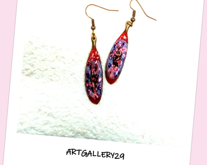 Vintage style earrings, oval, leaf shape, bronze metal and paint, creation H.ANGIARI