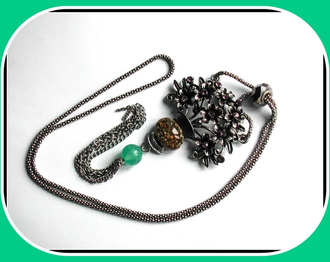 Very long pendant necklace, silver-plated flower basket, fluorite gem pearl, stone resin cabochon, chain pendants