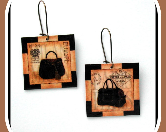 ETSY handbag / earrings printed HAND BAG haute couture, square pattern handbag, original earrings Paris haute couture
