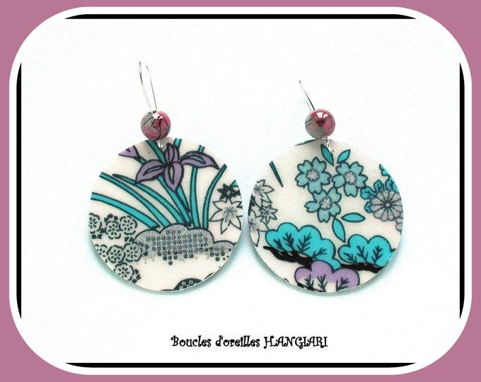 Japanese large round spring earrings, flower patterns, Japanese paper, silver sleeper