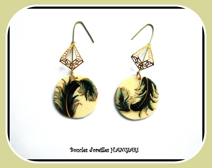 Nature collection: paper earrings, peacock feather, golden dangle, gold filigree, woman accessory, woman gift, original, light