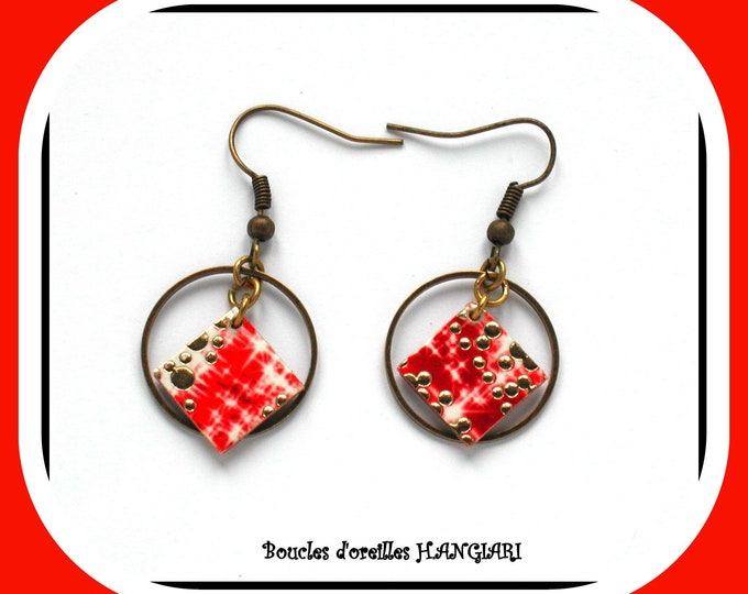 Red and gold: Red and gold earrings, small square in bronze creole
