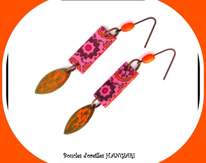 Indian Collection: Earrings in Indian colors pendants orange and pink light and original ethnic style