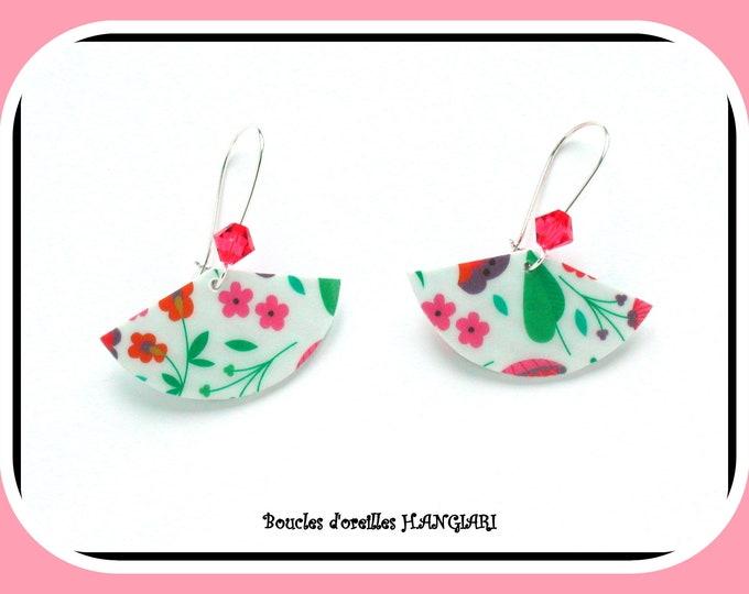 ETSY // Colorful naive earrings, naive flowers, swarosvki crystal top, silver sleepers, original earrings