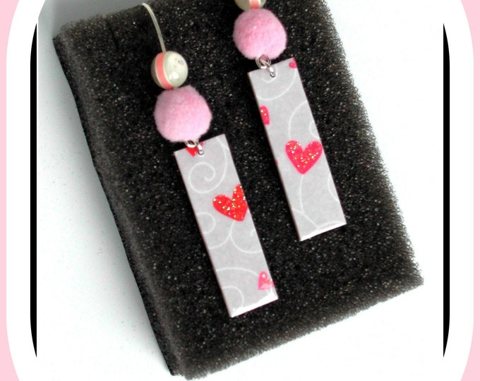 Hearts collection: earrings, parma earrings, hearts, pink pompom, love, love symbol, parma rectangle, parma paper, hearts
