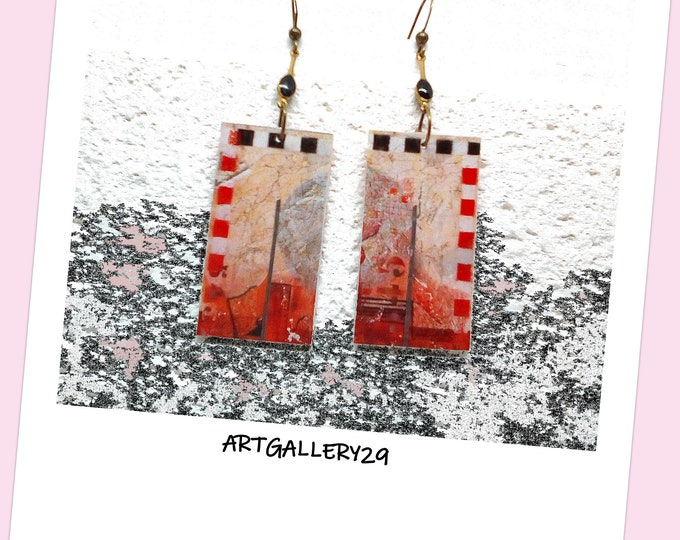 In RED and NOIR... Red and black graphic abstract paint earrings, red and black pendants