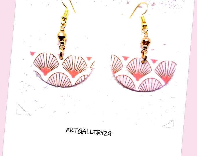 Gold-plated chain half-round sequin earrings, Japanese paper, gold / salmon, Japonerie, Japanese earrings