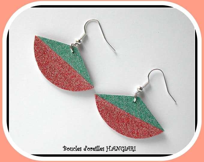 BICOLOUR PASTEL: Pastel color and sequins fan earrings two-tone green water sequins and pink fan shape