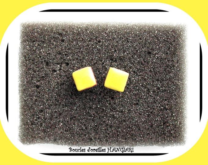Yellow stud earrings with purple edge in ear studs, minimalist, yellow sun, yellow square, yellow jewel, yellow enamel