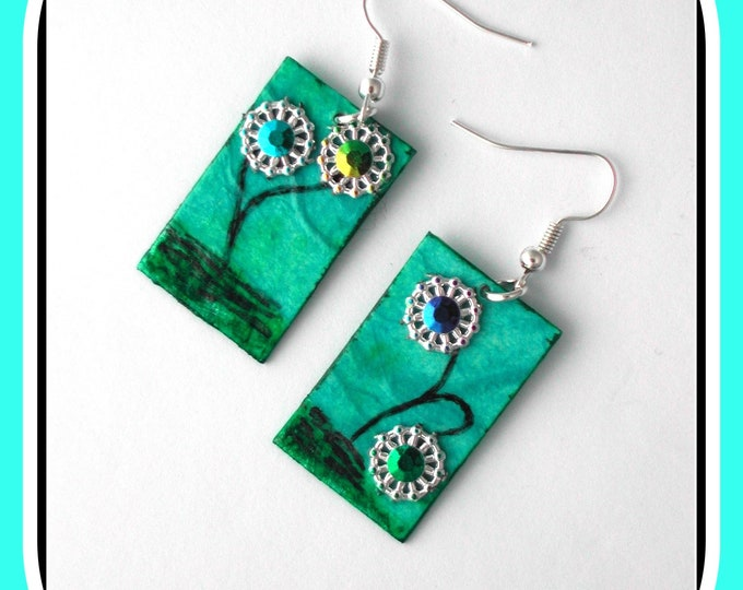 Fun, earrings, hand painted, rectangle, turquoise, rhinestone heart flower earrings, fun gift for parties