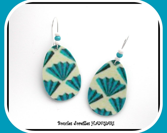 Ecological turquoise drops, drop earrings blue motif white background, drop shape, silver sleeper