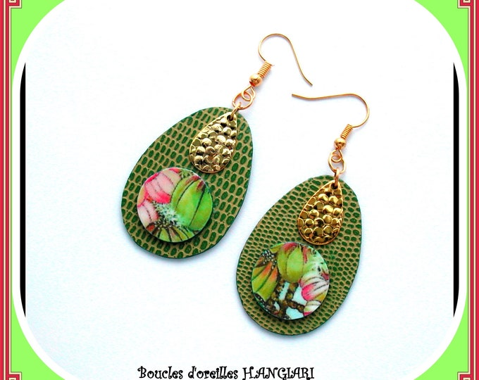 Large drops collection: Anise green drops earrings, green imitation leather, hammered brass drop, green faux leather drop