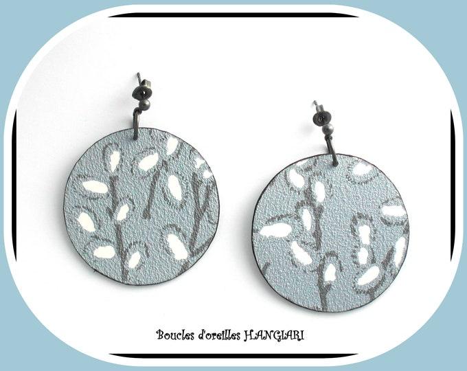 ETSY // Earrings big round blue gray japanese cherry buds, ear studs, close to ears, blue single earrings