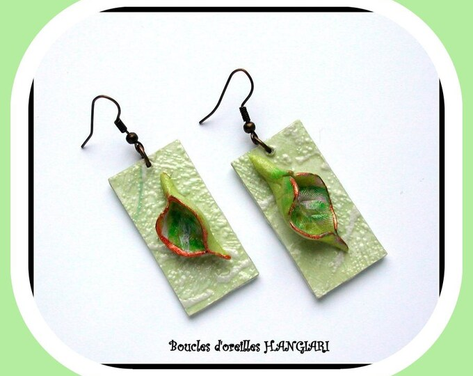 Cold porcelain earrings, flower arum, rectangle pale green paper, original creation, unusual, handmade earrings